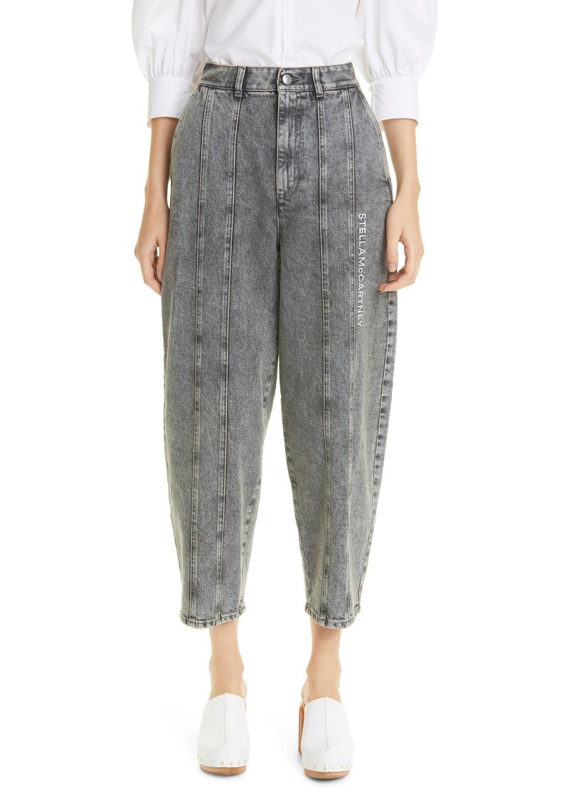 Women's Stella Mccartney Logo Embroidered Stretch Organic Cotton Crop Jeans