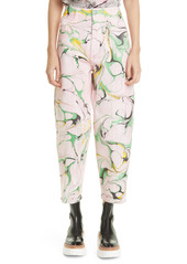 Stella McCartney Marble High Waist Taper Stretch Ankle Jeans