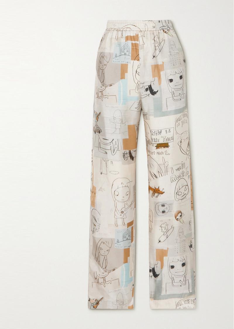 Stella McCartney Yoshitomo Nara Tye Printed Silk-twill Wide-leg Pants
