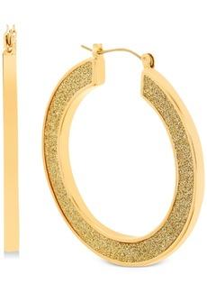Steve Madden Gold-Tone Glitter Medium Hoop Earrings