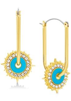 "Steve Madden Gold-Tone Turquoise-Look Crystal Sliding Starburst Large 1-7/10"" U-Hoop Earrings"