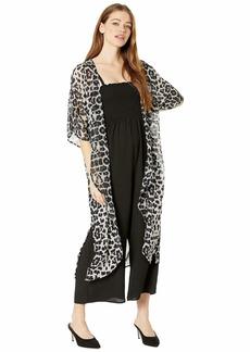 Steve Madden Women's Desert Duster Kimono with Side Slits & Pocket navy/ivory