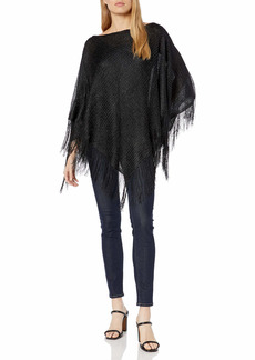 Steve Madden Women's Lurex Knit Poncho with Fringe black