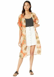 Steve Madden Women's Poppy Print Butterfly Sleeve Duster Kimono