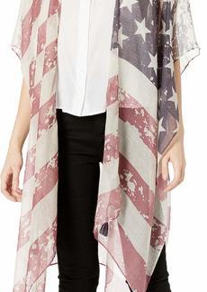 Steve Madden Women's Stars and Stripes Midi Kimono navy red
