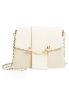 Strathberry Box Crescent Bicolor Leather Shoulder Bag