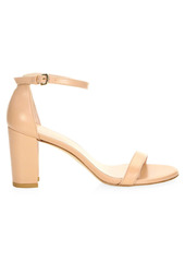 Stuart Weitzman Nearlynude Block-Heel Leather Sandals