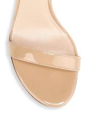 Stuart Weitzman Nearlynude Block-Heel Patent Leather Sandals