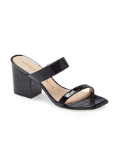 Stuart Weitzman Olive Croc Embossed Slide Sandal (Women)