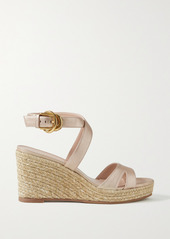 Stuart Weitzman Zuzu Metallic Leather Espadrille Wedge Sandals