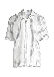 Sunspel Short-Sleeve Inky Stripe Shirt