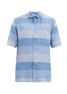 Sunspel Short-sleeved checked linen shirt