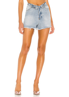 superdown Audrina Fold Over Denim Shorts