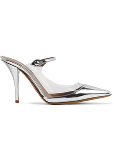 Tabitha Simmons Woman Allie Pvc-trimmed Mirrored-leather Mules Silver