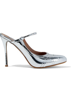Tabitha Simmons Woman Alyce Perforated Mirrored-leather Mules Silver