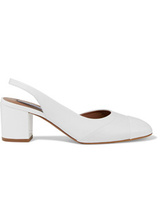 Tabitha Simmons Woman Beryl Smooth And Patent-leather Slingback Pumps White