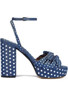 Tabitha Simmons Woman Jodie Bow-embellished Polka-dot Twill Platform Sandals Navy