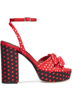 Tabitha Simmons Woman Jodie Bow-embellished Polka-dot Twill Platform Sandals Red