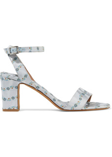Tabitha Simmons Woman Leticia Silk-blend Floral-jacquard Sandals Sky Blue