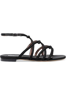 Tabitha Simmons Woman Minna Leather-trimmed Bow-embellished Grosgrain Sandals Black