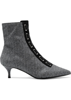 Tabitha Simmons Woman Quin Lace-up Herringbone Wool Ankle Boots Black