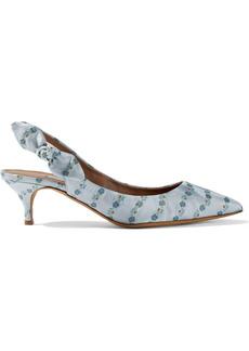 Tabitha Simmons Woman Rise Bow-embellished Silk-blend Floral-jacquard Slingback Pumps Sky Blue