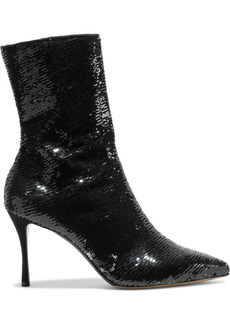 Tabitha Simmons Woman Wendie Sequined Stretch-mesh Ankle Boots Black