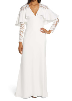Tadashi Shoji Capelet Long Sleeve Fit & Flare Gown