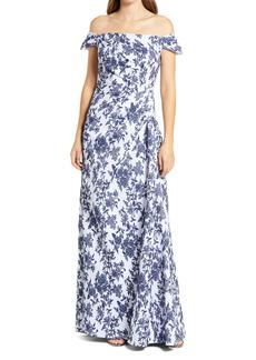 Tadashi Shoji Floral Jacquard Off the Shoulder Gown