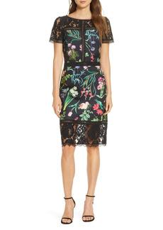 Tadashi Shoji Floral Scuba & Lace Sheath Dress