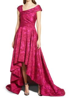Tadashi Shoji Jacquard Asymmetrical Neck High/Low Gown