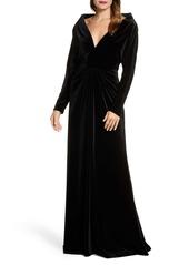 Tadashi Shoji Plunge Neck Long Sleeve Velvet Evening Gown