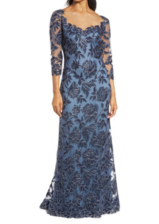 Tadashi Shoji Rose Embroidered Lace Gown