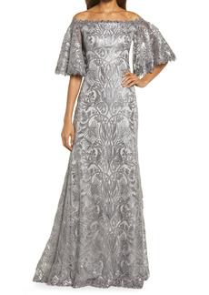 Tadashi Shoji Sequin Bell Sleeve Gown