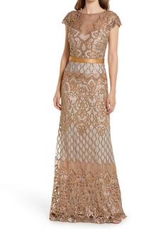 Tadashi Shoji Sequin Illusion Lace Gown