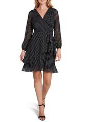 Tahari Polka Dot Long Sleeve Faux Wrap Dress