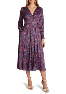 Tahari Satin Faux Wrap Long Sleeve Midi Dress