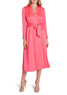 Tahari Wrap Front Long Sleeve Satin Midi Dress