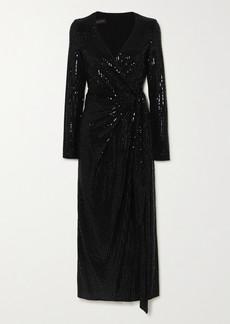 Talbot Runhof Botin Sequined Metallic Stretch-crepe Wrap Midi Dress