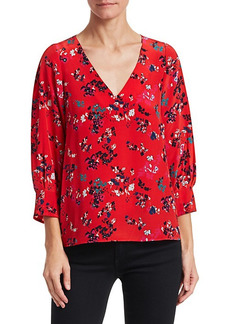 Tanya Taylor Clio Floral Clusters Silk Top