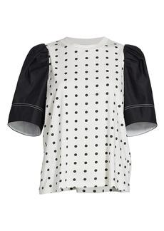 Tanya Taylor Elle Puff-Sleeve Polka Dot T-Shirt