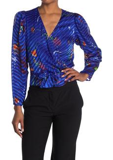 Tanya Taylor Erica Floral Stripe Wrap Blouse