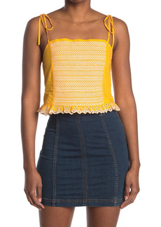 Tanya Taylor Randy Cropped Tie Strap Embroidered Tank