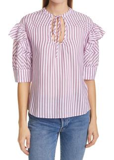 Tanya Taylor Callie Stripe Ruffle Sleeve Cotton Blend Blouse