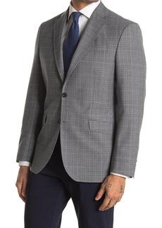 Ted Baker Jarrett Grey Plaid Two Button Notch Lapel Wool Sport Coat