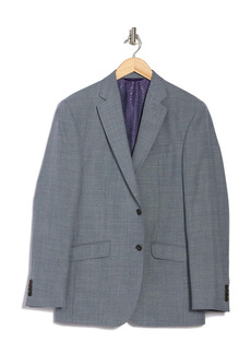 Ted Baker Jarrett Light Blue Sharkskin Two Button Notch Lapel Wool Sport Coat