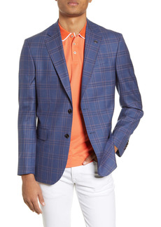 Ted Baker Jay Blue Plaid Two Button Notch Lapel Slim Fit Wool Sport Coat