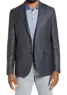 Ted Baker Konan Green Plaid Two Button Notch Lapel Trim Fit Wool Sport Coat