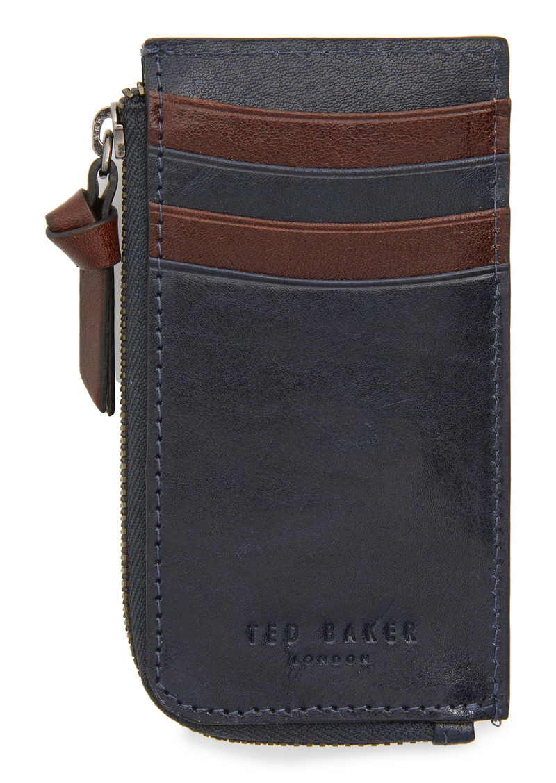 Ted Baker London Bombay Leather Zip Card Holder