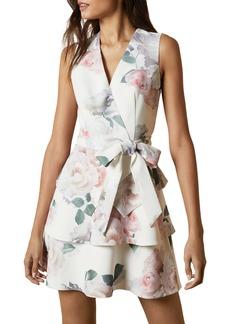 Ted Baker London Dewana Floral Print Faux Wrap Dress